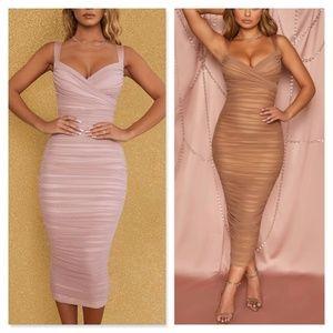 Mesh Ruched Tube V-Neck Dress